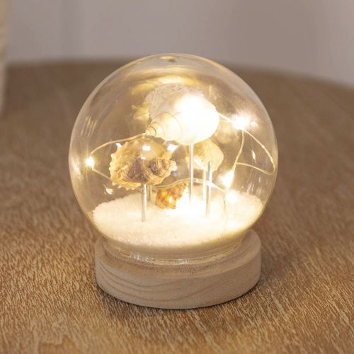 Light Up Glass Seashell Orb Home Ornament - Seashell LED Light Globe